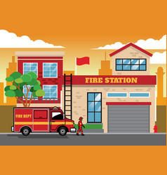 Fire truck in fire station vector