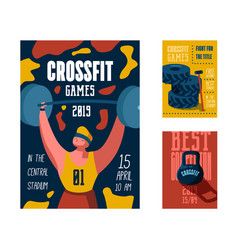 Fitness workout gym poster placard invitation vector