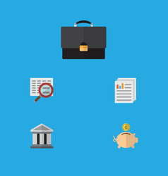 Flat icon incoming set of portfolio scan bank vector