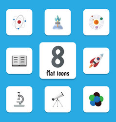 Flat icon knowledge set of lecture flame proton vector