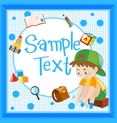 Frame template with boy tying shoelaces vector