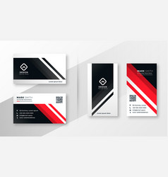 geometric business card design in red theme vector image