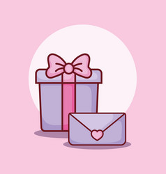 gift box and email message online dating vector image