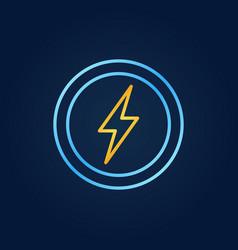 golden lightning in blue circles outline vector image
