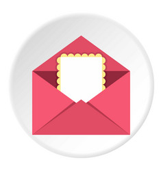 Greeting card in pink envelope icon circle vector