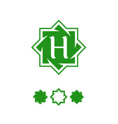 halal abstract symbol template green color vector image