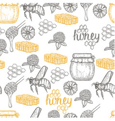 hand drawn honey seamless pattern over white vector image