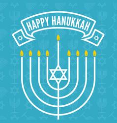 Happy hanukkah greeting card with menorah vector