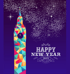 happy new year 2019 london color triangle hipster vector image
