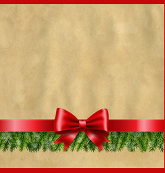 happy new year banner with red ribbon and fir tree vector image
