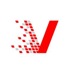 Initial v letter digital data movement symbol vector