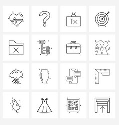 Isolated symbols set 16 simple line icons of vector