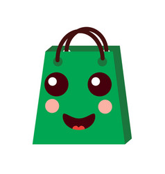 kawaii shopping bag cartoon happy smile vector image
