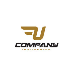 Letter u logo with simple wings design element vector