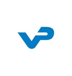 Letter vp simple linked geometric logo vector