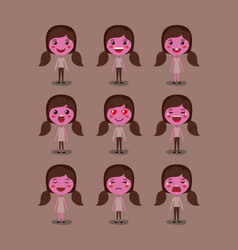 little pink girls emoticon set kawaii characters vector image