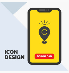 Location pin camping holiday map glyph icon in vector
