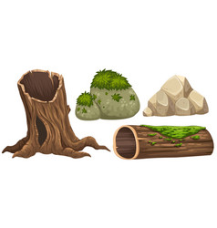 Log and rocks with moss on top vector