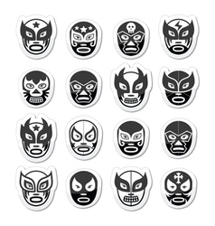 Lucha libre luchador Mexican wrestling black mask vector image