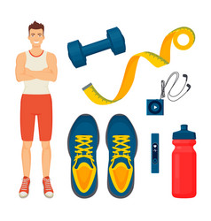man and sport items icons set vector image