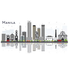 Manila philippines city skyline with gray vector