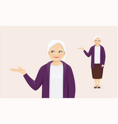 Mature woman presenting something vector