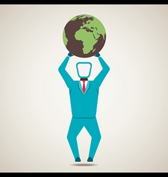 men lift the globe world vector image