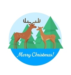 Merry Christmas Concept in Flat Design vector