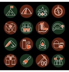 Mountain Climbing Icon Set vector