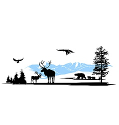 Mountain wildlife animals background vector image vector image