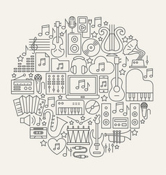 Music line icons circle vector