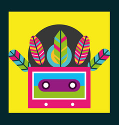 Musical cassette feathers free spirit vector