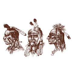 Native american indian man with headdress and vector