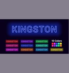 Neon name of kingston city vector