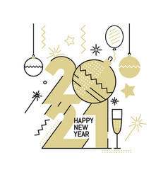 new year gold 2021 number design vector image