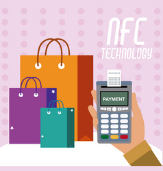 Nfc technology for shopping vector