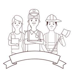 Nurse seller and fireman vector