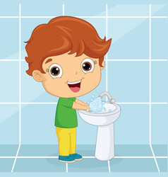 Of a kid washing hands vector