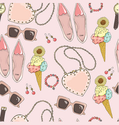 Pattern of women accessories and ice cream on a vector