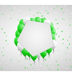 Pentagon badge and green balloons vector