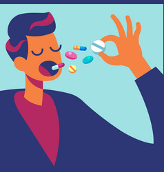 Pills in mouth man eating many drugs hand vector