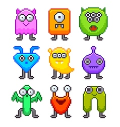 Pixel monsters for games icons set vector