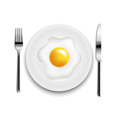 Plate with fried eggs fork and knife white vector