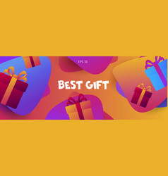 Poster background with fluid shapes and gift boxes vector