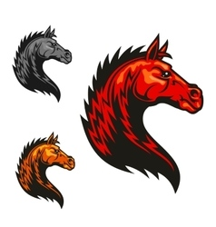 Powerful horse profile with tribal flaming mane vector