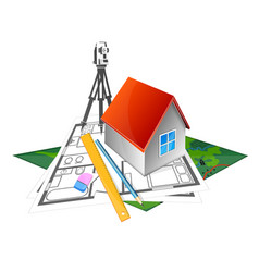 project to build a house and geodesy vector image