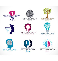 Psychology brain and mental health conceptual vector