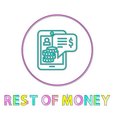 rest money icon in linear outline style vector image