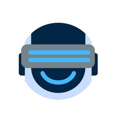Robot face icon smiling face wearing digital vector