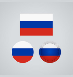russian trio flags vector image